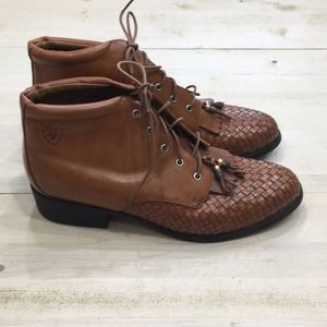 Ariat woven leather tassel ankle boot sz 9.5
